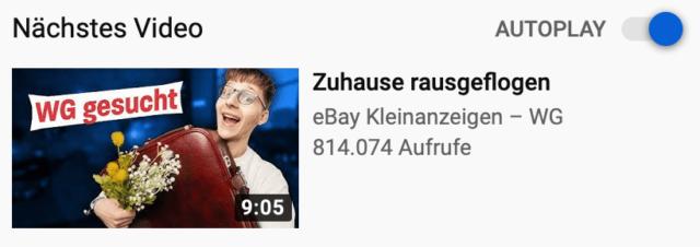 In den Videovorschlägen werden neben dem Thumbnail auch der Titel, Kanalname und Aufrufe angezeigt.